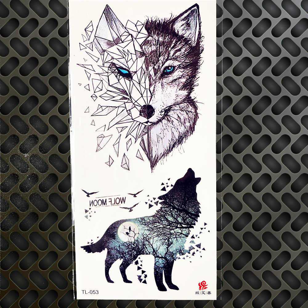 25 Pattern Tribal Geometric Wolf Tattoo Stickers Colorful Deer Moose Tiger Body Art Drawing Men Women Makeup Paste Tatoo Sticker
