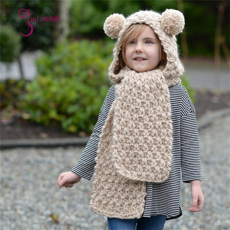 IANLAN Winter Girls Solid Hats Scarves Little Bear Style Lovely Kids Warm Thickening Cap Children Knit Wool Long Muffler IL00184
