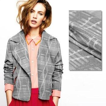 Gray geometric jacquard fabric high quality jacquard wool fabric autumn and winter clothing skirt  wool cloth jacquard cloth