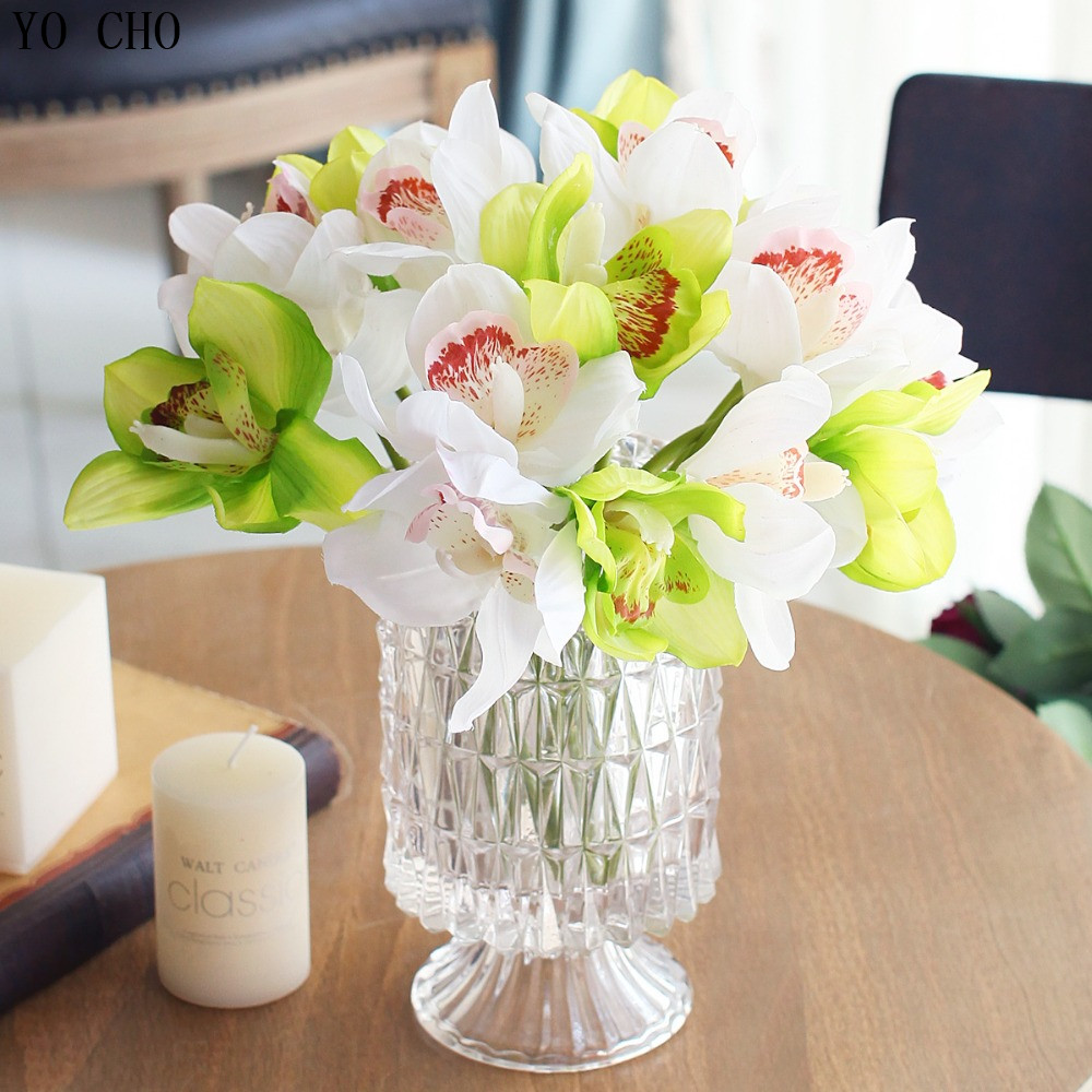 Artificial flowers real touch orchids artificial cymbidium for Artificial flowers decoration for home