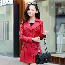 new double-breasted ladies leather motorcycle jacket Slim long sections women coat