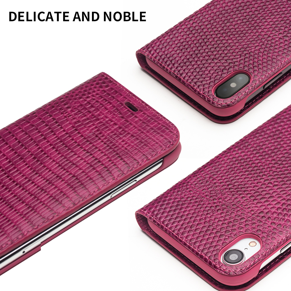 Image 5 - QIALINO Genuine Leather Phone Case for iPhone X/XS/XR Fashion  Luxury Handmade Women Bag Card Slot Flip Cover for iPhone XS MaxFlip  Cases