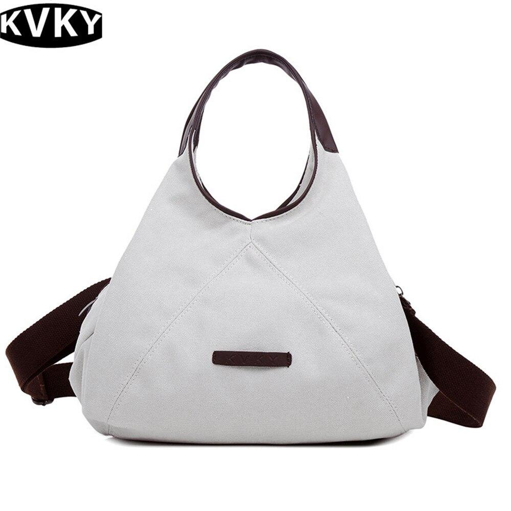 67debf86b101 KVKY Для женщин Холст сумки сплошной цвет дамы сумки большой Ёмкость женские  сумки с молнии сумка Для женщин сумка-шоппер