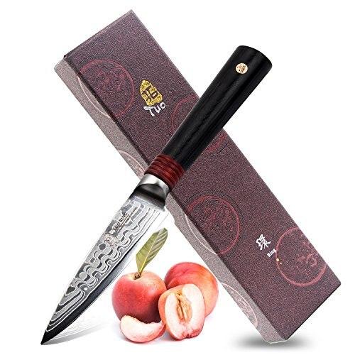 TUO Couverts-Japonais Damas Couteau Dragon Motif-AUS-10 Haute Teneur En Carbone En Acier Inoxydable-couteau à éplucher 3.5 pouce- anneau D Série