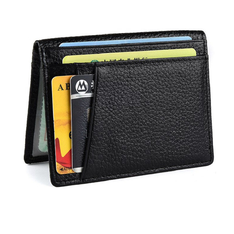 Men RFID Blocking 8 Card Position Genuine Leather Front Pocket Card Holder With Transparent Window in Card ID Holders from Luggage Bags