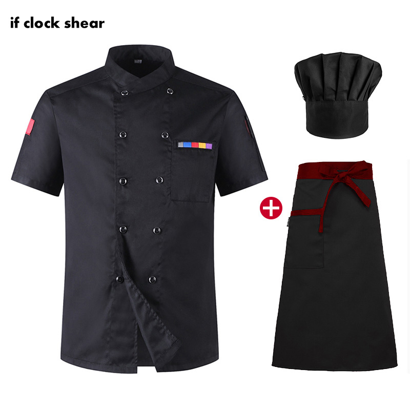 Short Sleeved Bakery Kitchen Chef Jackets High Quality Chef Restaurant Uniforms Shirts Hotel Catering Kitchen Work Clothes Coat