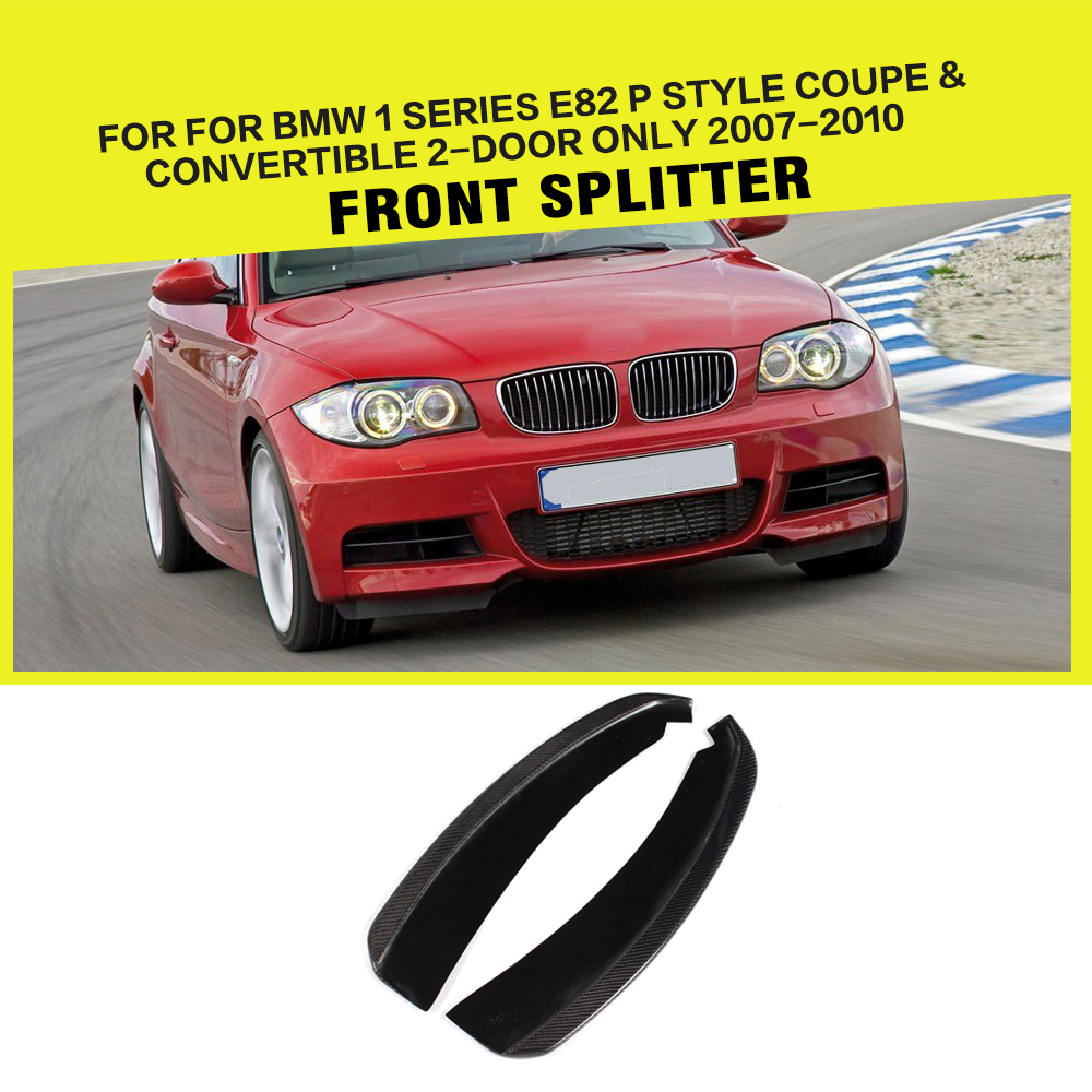 Car-Styling carbon fiber front splitter lip for BMW 1 Series E82 M Sport Coupe & Convertible 2-Door Only 2007-2013 universal auto car bumper moulding decorative fins canards front splitter sticker carbon fiber car styling for all cars 4pcs set