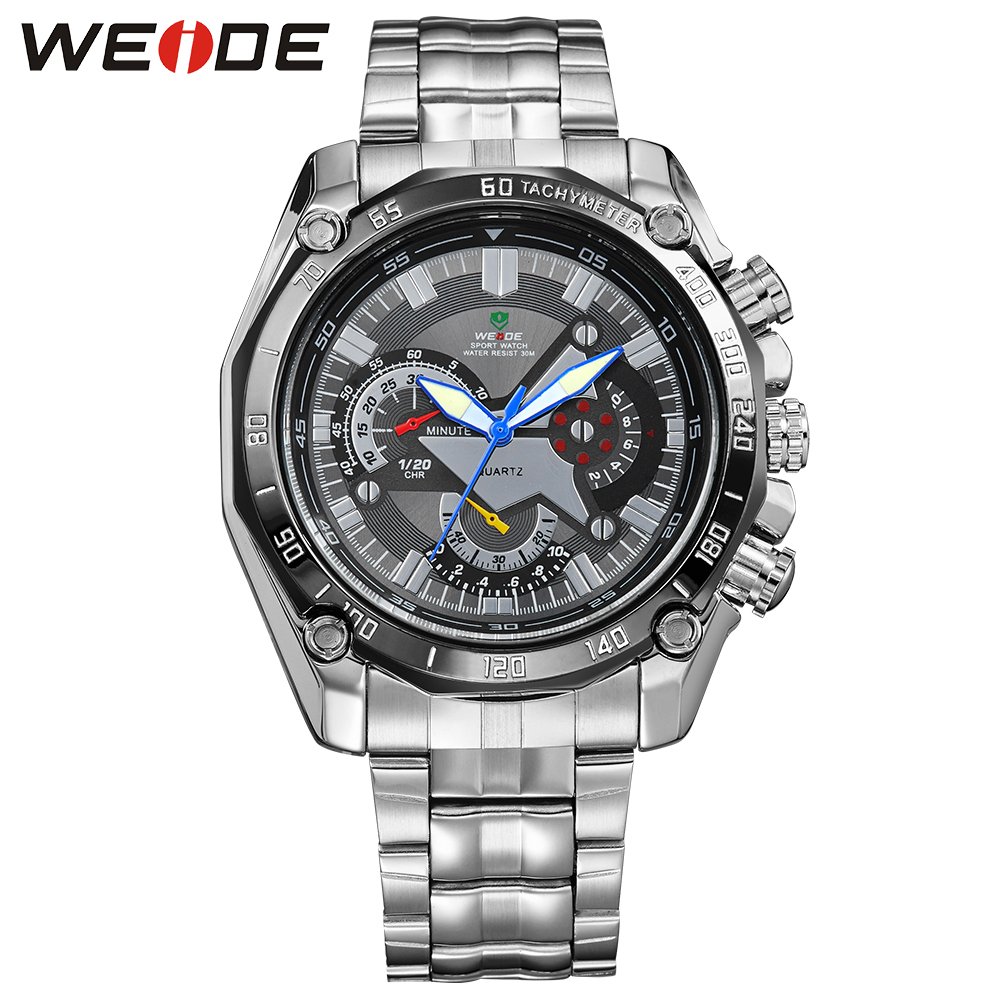 WEIDE Popular Brand Quartz Watches Men Stainless Steel Buckle Analog Display Round Black Dial 30M Water Resistant Men Wristwatch weide brand irregular man sport watches water resistance quartz analog digital display stainless steel running watches for men