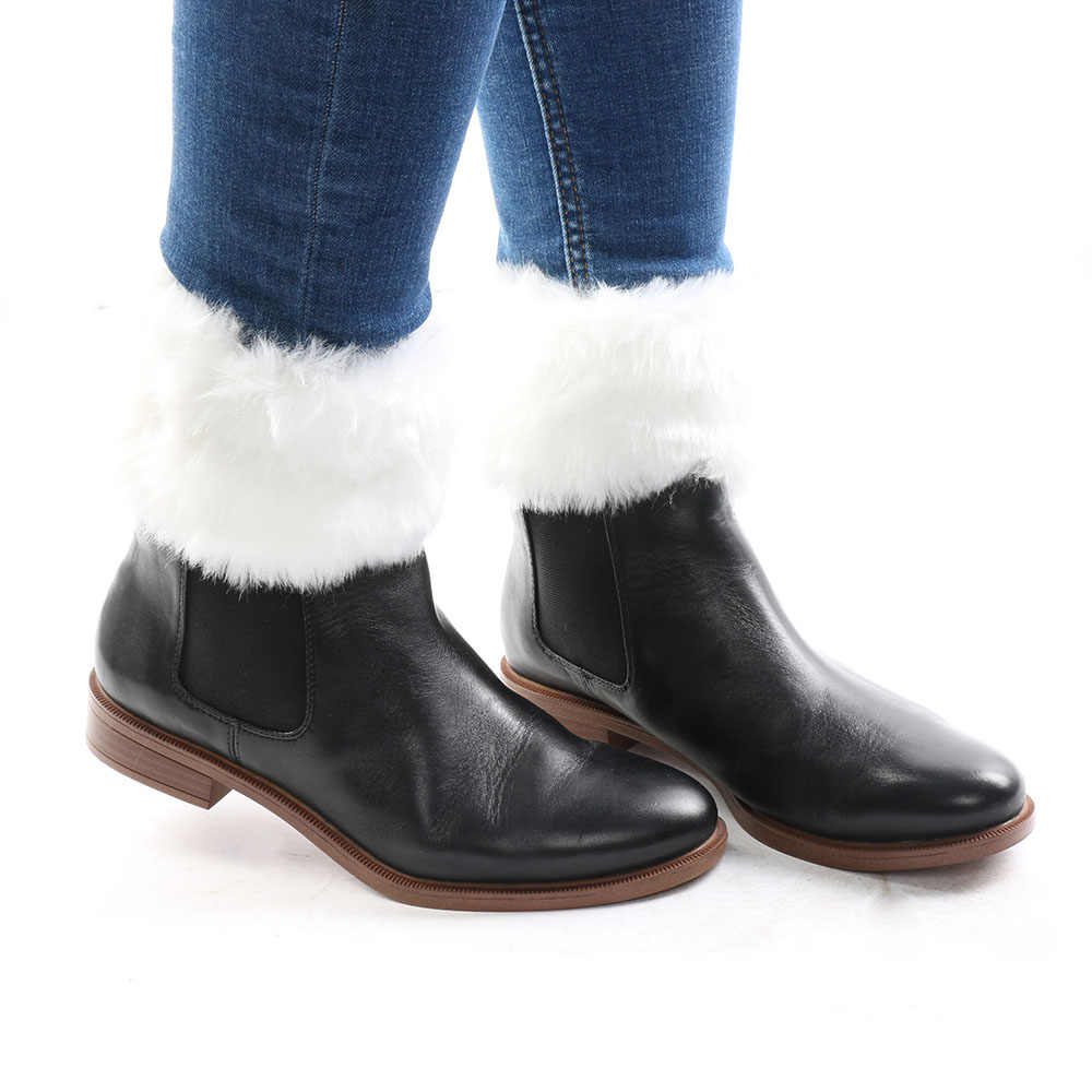 1 paar Soft Warm Womens Lady Haak Gebreide Fur Trim Beenwarmers Manchetten Toppers Boot Sokken Winter