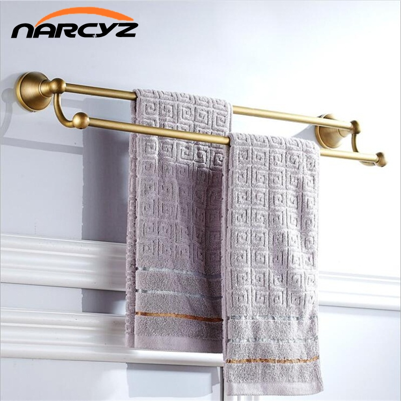 Full copper antique European and American European retro bathroom towel rack double bar bathroom 9042K