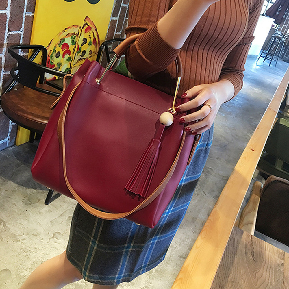 Women Fashion Wooden Beads Tassels High Capacity Tote Bag Crossbody Bag Gray Handbag Organizer MAY23