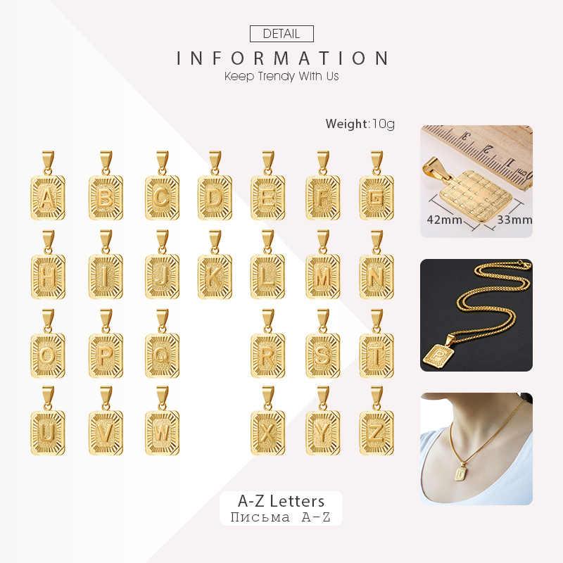 A-Z pingente carta colar para homens 585 rosa ouro amarelo caixa de prata corrente colar atacado jóias presente 55cm gpm12a