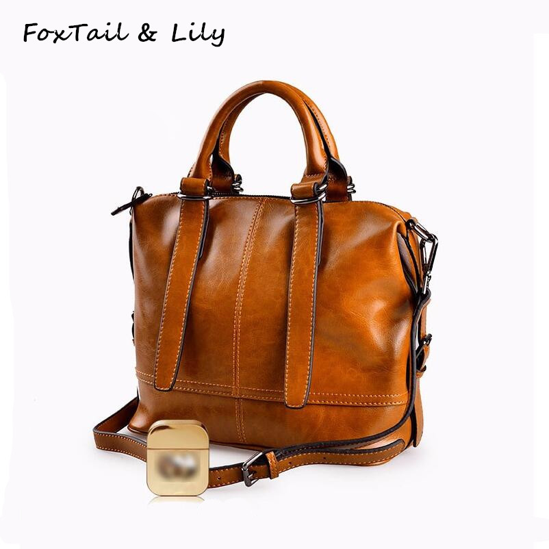FoxTail & Lily Brand Women Genuine Leather Handbags High Quality Oil Wax Leather Vintage Tote Shoulder Bag Ladies Crossbody Bags high quality cow leather women bag vintage oil leather wax smiley crossbody bag summer bags 4colors cute pig face bag 3025