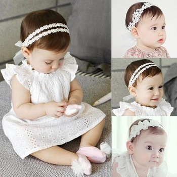 Baby Girls Fashion New Hairhoop Crown Princess Pearl Lace Hairband Newborn Baby Flower Pattern Lovely Hair accessories Hot Sale