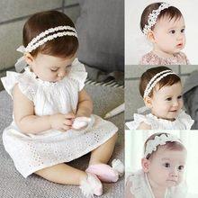 Meninas do bebê Moda de Nova Hairhoop Coroa Da Princesa Pérola Lace Hairband  Flor Bebê Recém-nascido Padrão Adorável acessórios . 0020d3650505