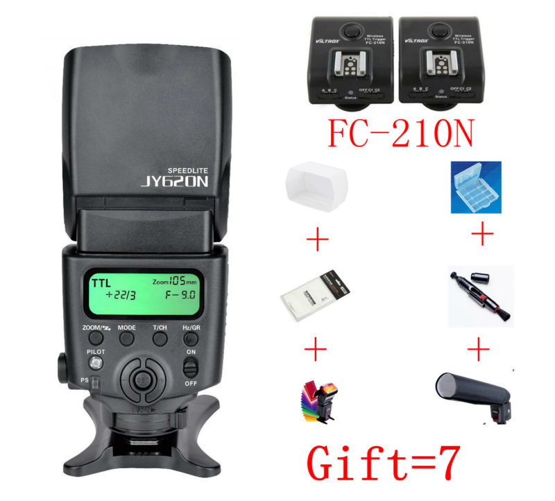 Viltrox JY-620N+Viltrox FC-210N Camera LCD TTL Flash Speedlite for Nikon D3100 D3200 D5100 D5200 D5300 D7000 D800 D810 D90 DSLR camera dslr twin dual arm shoe macro flash bracket for nikon d90 d700 d7000 d7100 d800 d810 d300 d5300 flashgun speedlite ttl m