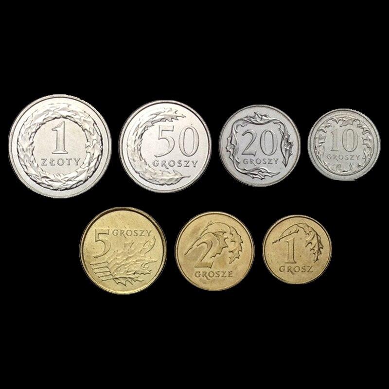 7 шт польская монета 100% оригинальная монета 1992-05 год не циркулирует
