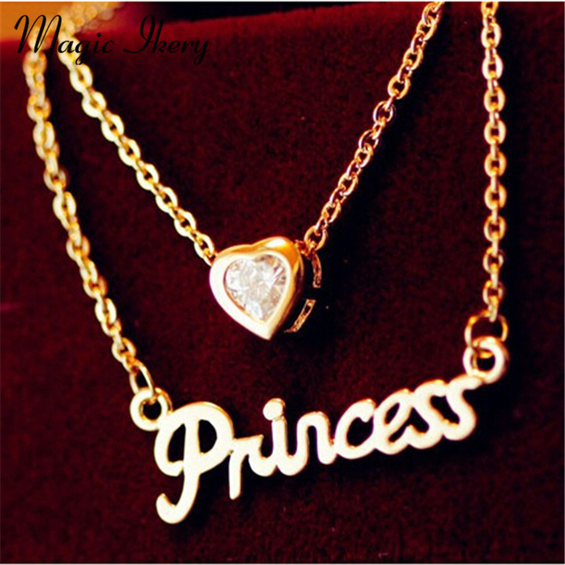 Magic Ikery Lovely Heart Pendant Chain Princess Necklace