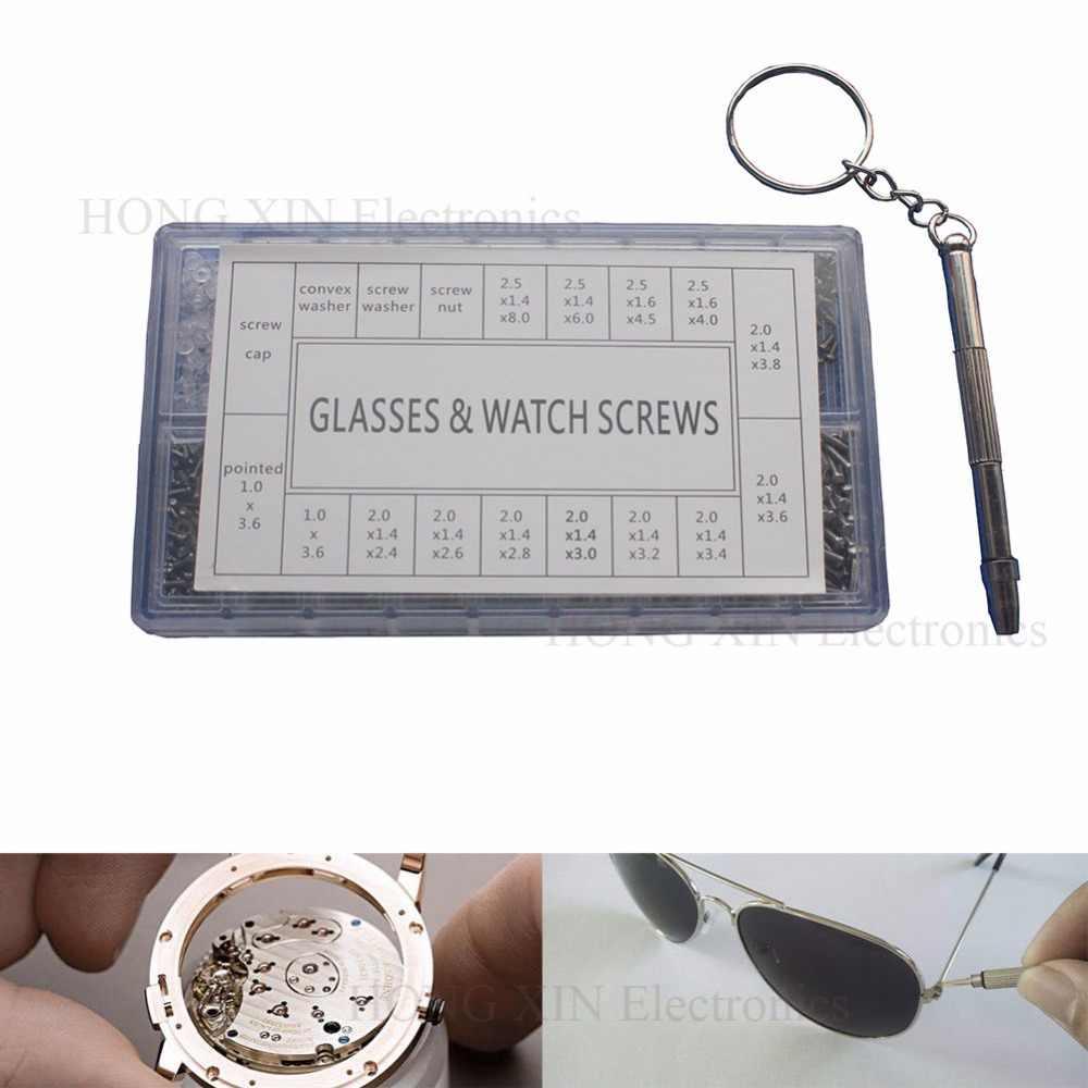 1000pcs vite in acciaio inossidabile occhiali da sole occhiali occhiali telefono occhiali viti dadi cacciavite kit di strumenti di riparazione