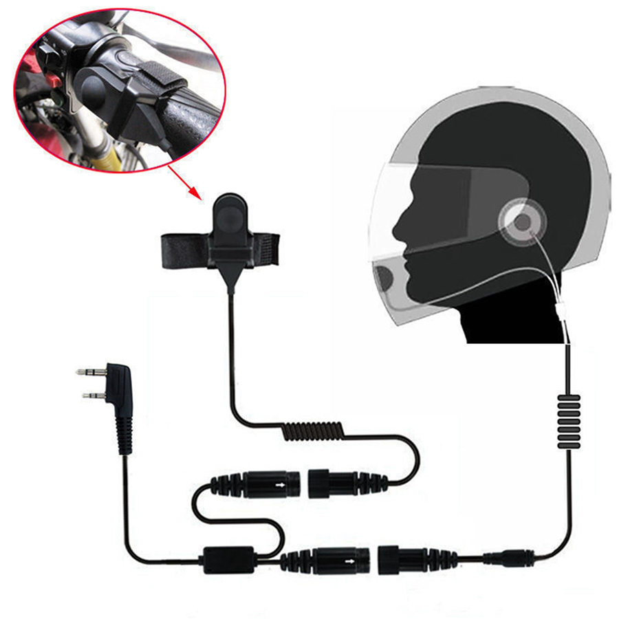 Motorcycle Full Face <font><b>Helmet</b></font> Headset Earpiece for Two Way Radio Baofeng Walkie Talkie UV-5R UV-5RA Plus BF-888S GT-3 GT-3TP Mark
