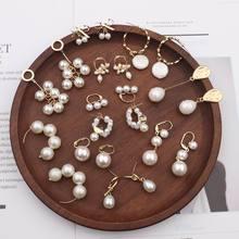 MENGJIQIAO 2019 nuevos Pendientes de gota de perlas simulados de muchos estilos de Moda con cuentas para Mujer