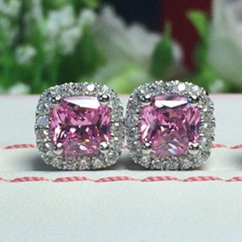 Earrings Diamond Jewelry Stud Wedding White SONA Pink Cushion Gold Women for 3M Romantic