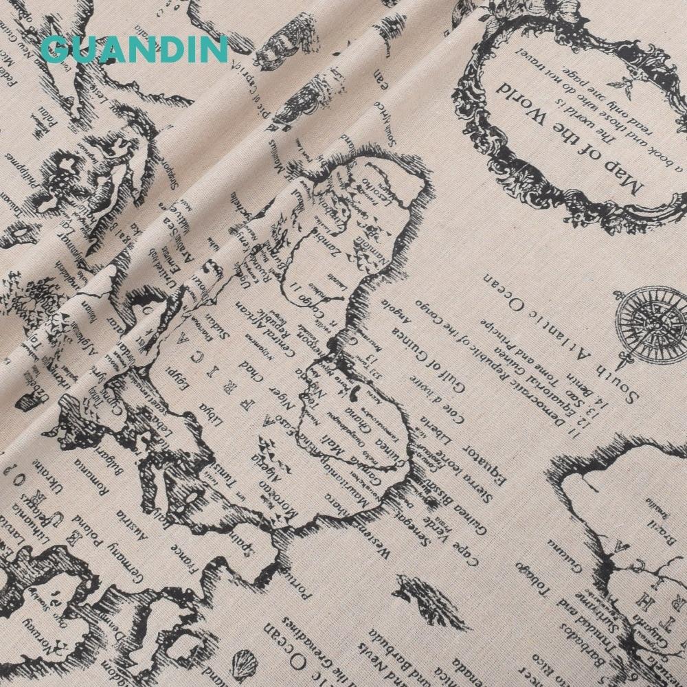 GUANDIN, מודפס כותנה פשתן בד לתפירת/DIY תפירה/בד שולחן ספה/רהיטי רקמות/חומר כרית מפת העולם
