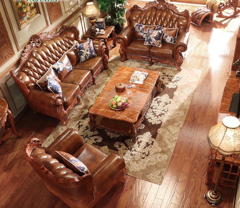 European-style Leather Sofa Combination 123 Living Room Furniture