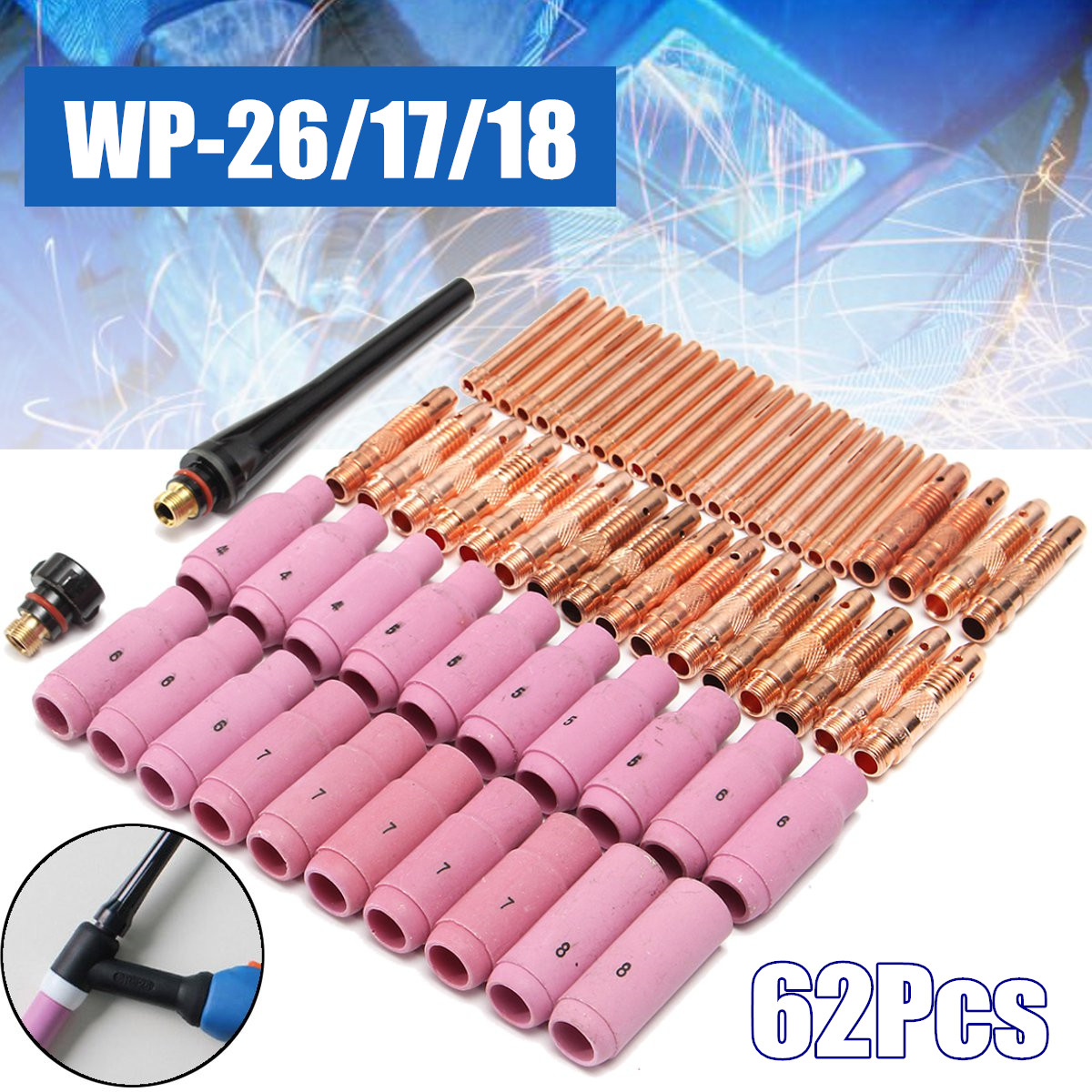 New 62Pcs TIG Welding Torch Ceramic Copper Nozzle Pyrex Cup for Welding Machine WP-26/17/18 KitNew 62Pcs TIG Welding Torch Ceramic Copper Nozzle Pyrex Cup for Welding Machine WP-26/17/18 Kit