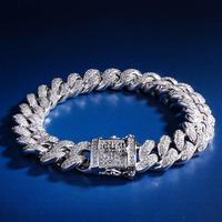 Hip Hop Bling Cuban Bracelet 12mm White Gold Iced Out Cuban Chain Link Mens CZ Iced Bracelet for Men Women Hip Hop Jewelry