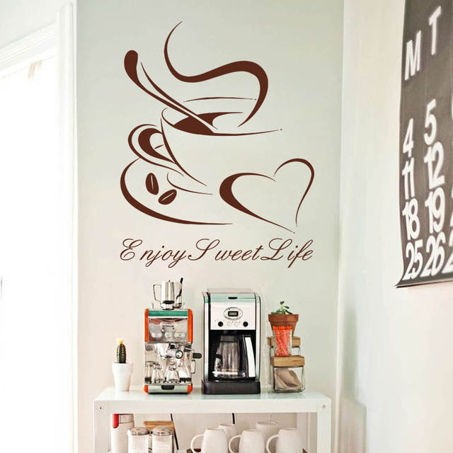 Art Design Cheap Vinyl Home Decoration Heart Coffee Cup Wall Sticker House Decor Beautiful Bar Decal In Kitchen Bar Or Shop