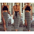two piece set women crop top and skirt set long skirt hot dress bodycon cami maxi skirt side split open back backless vest T462