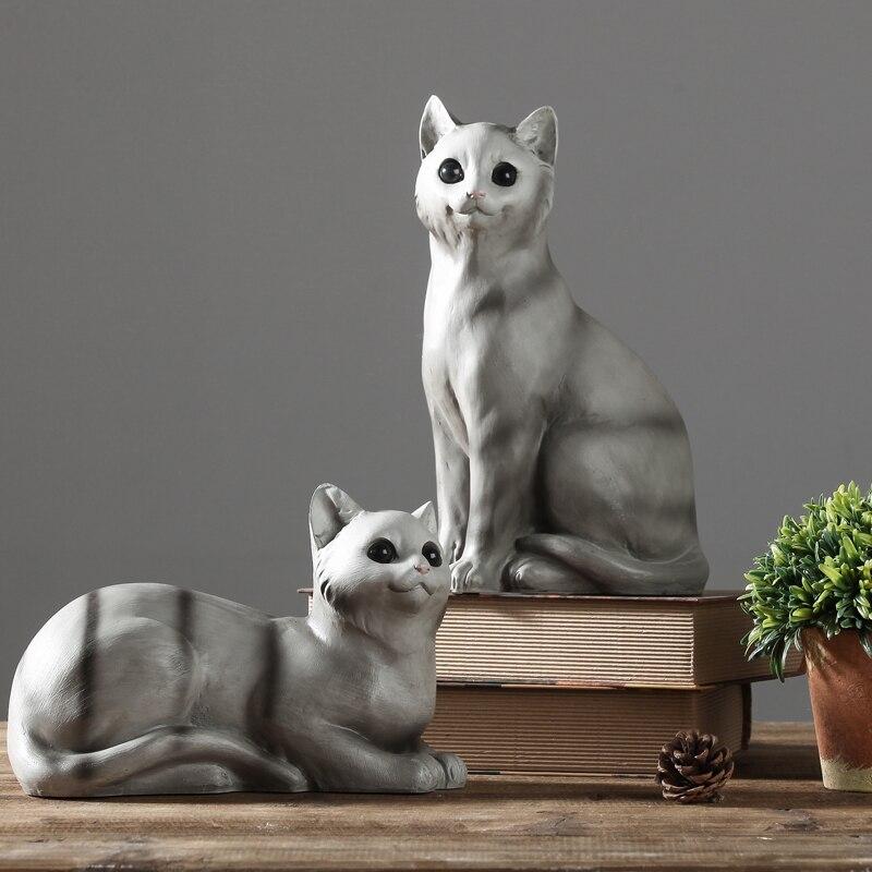 Proste Nowoczesne żywicy Kot Figurki Artykuły Wyposażenia Wnętrz