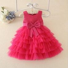 Children's Clothing Girls Dress Casual O-neck Sleeveless Knee-length Bow Ball Gown Dresses Flower Girl Dress 80 90 100 110 120