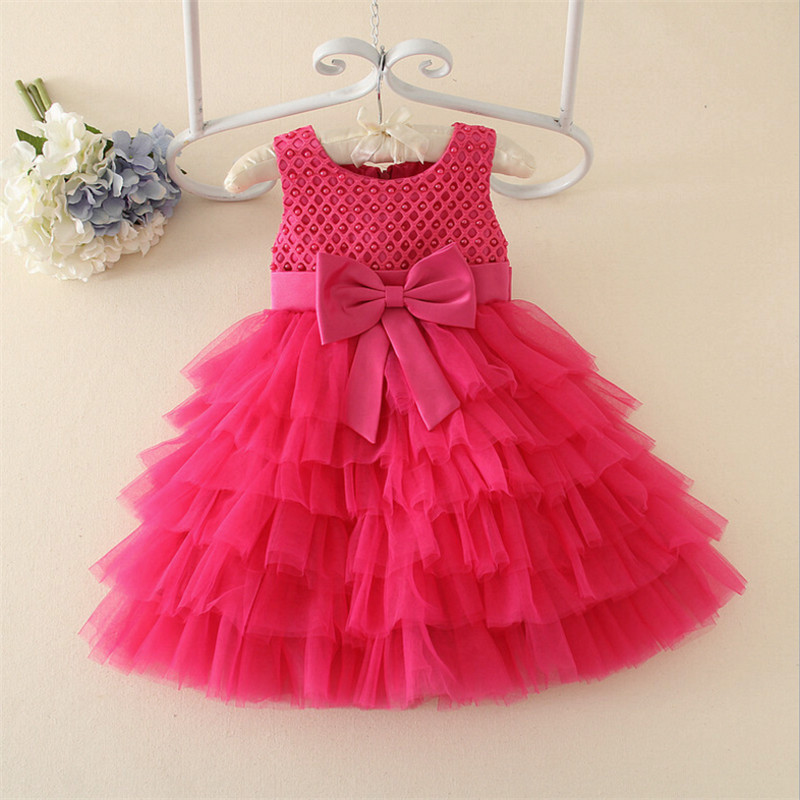Children's Clothing Girls Dress Casual O-neck Sleeveless Knee-length Bow Ball Gown Dresses Flower Girl Dress 80 90 100 110 120 embroidered casual loose knitted dress flower long sleeved dress o neck line plain dresses fall casual dresses