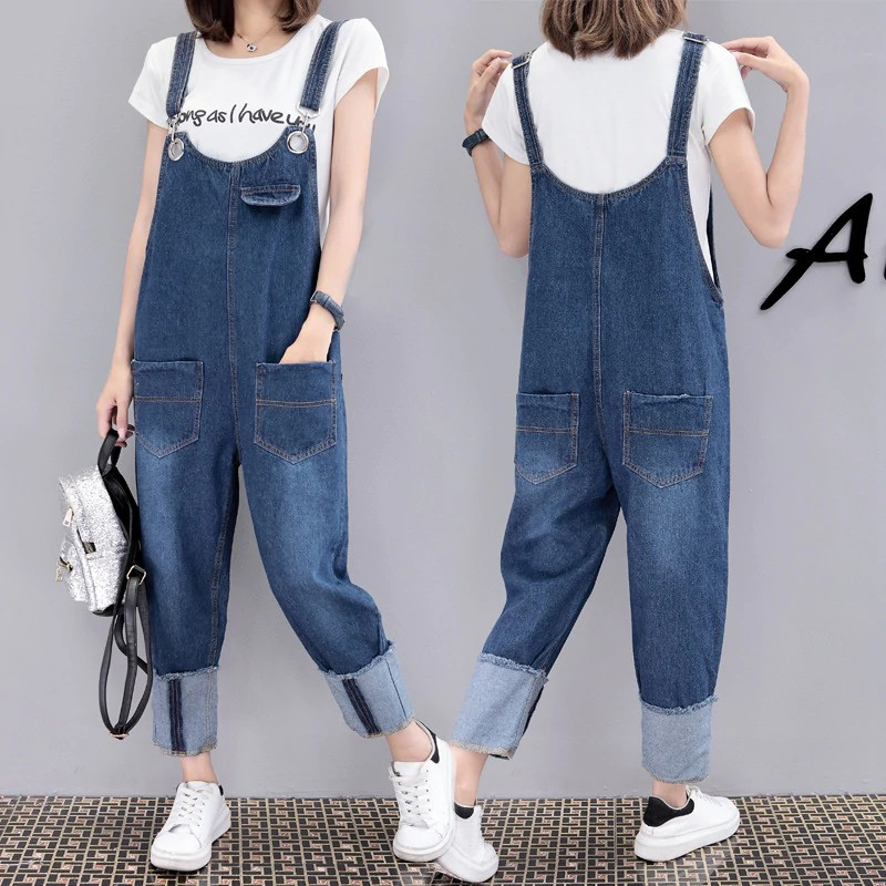 Plus Size Loose Wide Leg Bib Denim Overalls Jeans For Women  Casual Big Size Boyfriend Denim Jeans Jumpsuit Romper Trousers