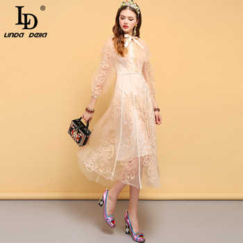 LD LINDA DELLA Fashion Runway Designer Autumn Dress Women's Bow Tie Floral Embroidery Mesh Overlay Elegant Vintage Party Dresses - DISCOUNT ITEM  20% OFF All Category