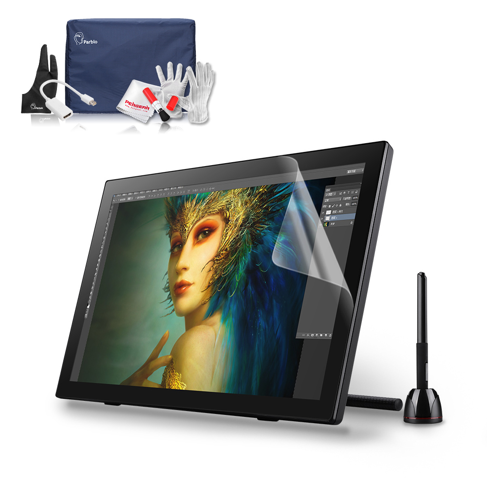 Parblo Coast22 21.5 USB Art Design Drawing Graphics Tablet LCD Monitor 2048 Levels + Battery-free Pen+ Screen Protector+Glove professional ug 2150 ips hd tablet monitor parblo pr200w one hand mechanical gaming keyboard two finger glove screen protector