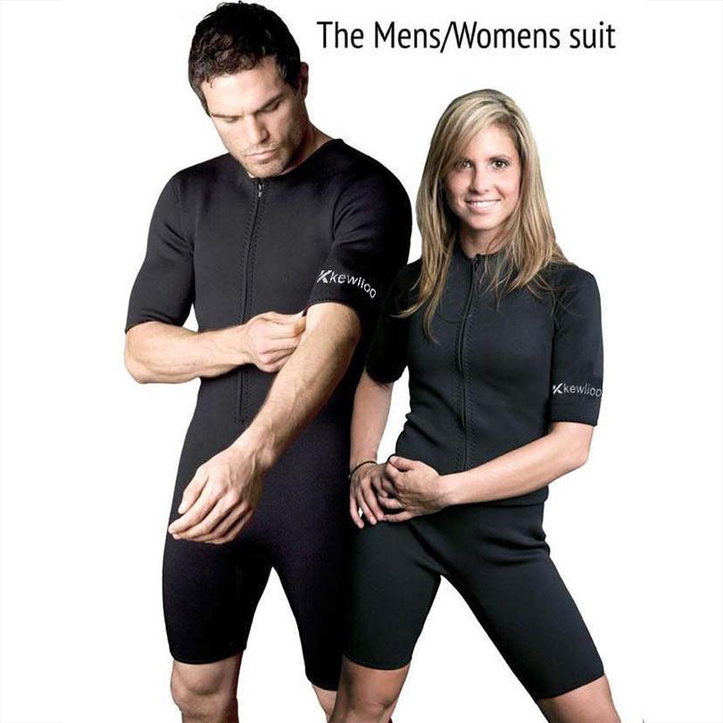 Men's / Women's Slimming Body Shapers Neoprene Sauna Suit Sexy Bodysuit Leg Fajas Waist Trainer Shapewear Zipper Plus Size S-3XL