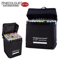 Finecolour маркеры на спиртовой основе 72 цвета кисть с двойным наконечником цветной графический Рисунок технический дизайн Эскиз Арт Набор Ef102