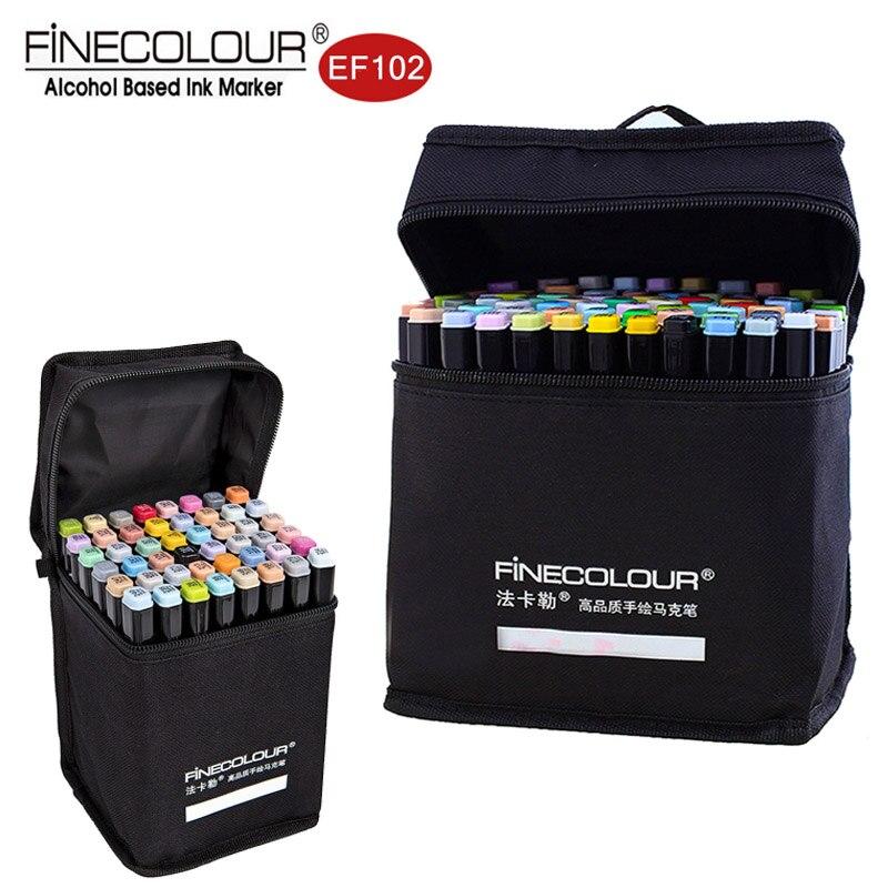 Finecolour marqueurs à base d'alcool 72 couleurs pinceau double pointe de couleur dessin graphique conception technique croquis Art Set Ef102