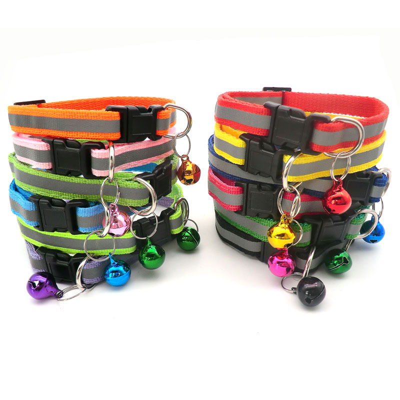 Wholesale 100Pcs Adjustable Bell Small Dog Collar Cat Pet Collars Adjustable Puppy Cat Pet Basic Collars