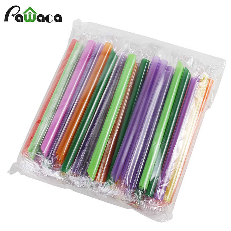 50pcs/lot Colorful Big Wide Drinking Straws Disposable Flexible Straw Bubble Tea Milk Tea Smoothie Straw Bar Party Supplies