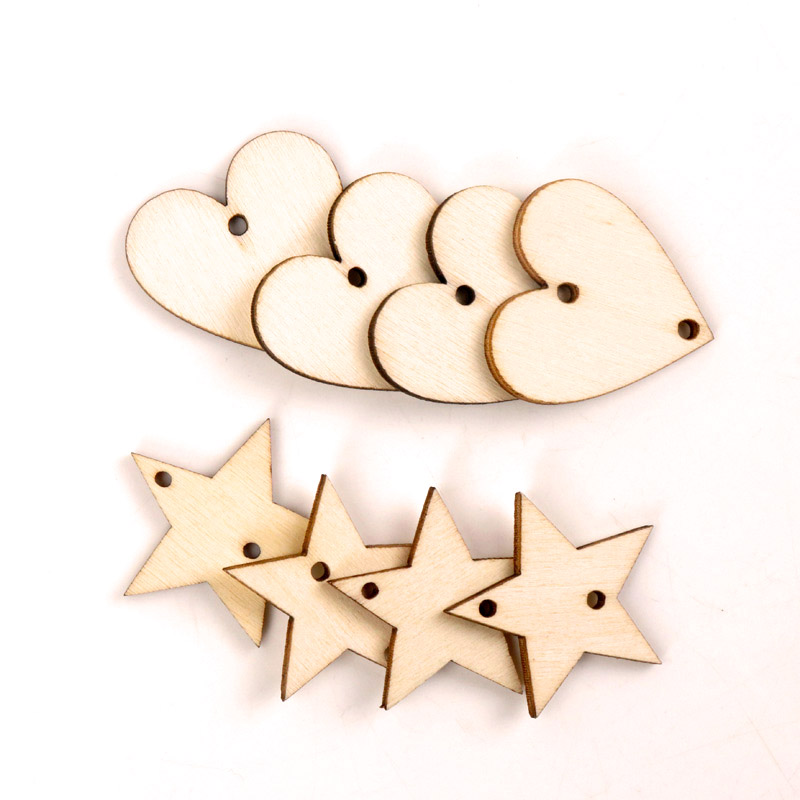 Home Decoration Hanging Ornament Accessory Painting Scrapbooking Craft Wooden DIY Star Heart Shape Handmade 30mm 20pcs