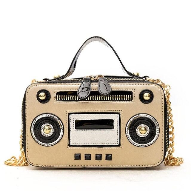 Fashion Radio Shape Shoulder Bag Chain Funny Women Leather Handbags Brand Designer Cute Tote