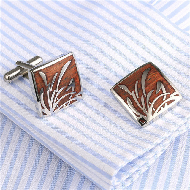 1 Pair Creative High-end Wooden Cufflinks Stainless Steel Cuff Links French Nail Sleeve Button Wedding