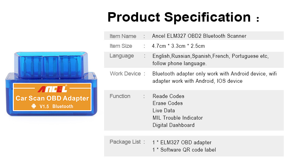 Super Mini Bluetooth Obd Obd2 Elm327 V 1 5 Diagnostic Tool Auto