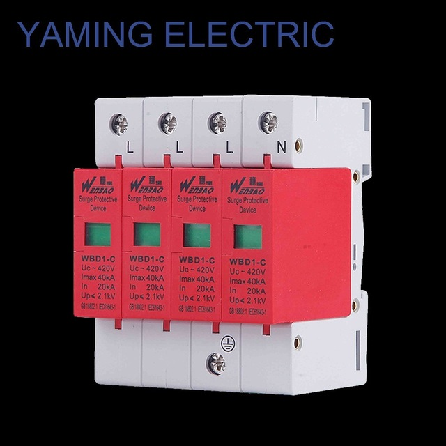 High quality SPD 4P 80 120KA/4P 3P+N electric House Surge Protector Protective Low Voltage Arrester Device Lightening protection