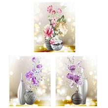 Flowers and vases Diamond Painting Full Round Rose New DIY Sticking Drill Cross Embroidery 5D modern Home Decoration