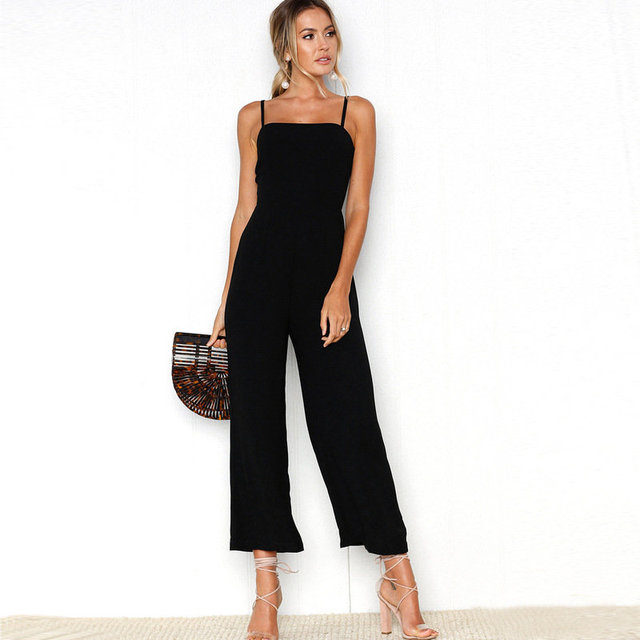 Umeko Solid Color Loose Jumpsuit Sleeveless Office Lady Casual Junpsuits High Waist Spaghetti Strap Playsuit Mujer